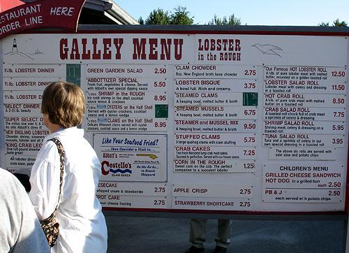 Abbotts Lobster Restaurant Menu