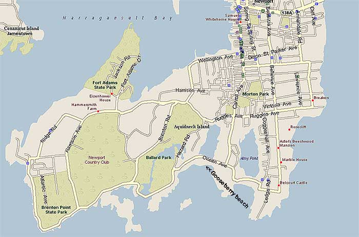 Newport Rhode Island Sights Map